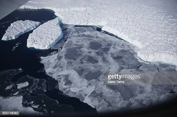 Ice floats near the coast of West Antarctica as viewed from a window of a NASA Operation IceBridge airplane on October 28 2016 inflight over...