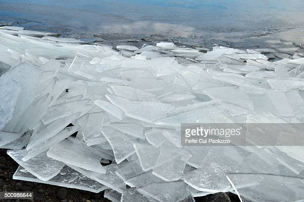 Ice floe at Kleifarvatn Reykjanes Peninsula Southwest of Iceland