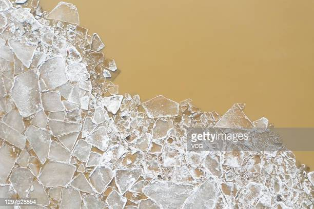 Ice floes appear on the Yellow River on January 20, 2021 in Binzhou, Shandong Province of China.