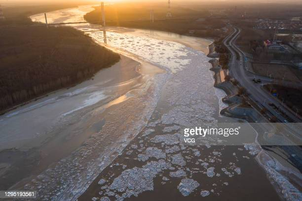 Ice floes appear on the Yellow River on January 7, 2021 in Binzhou, Shandong Province of China.