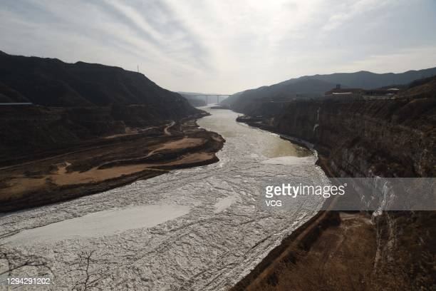 Ice floes are seen on the Yellow River's Hukou section on January 2, 2021 in Linfen, Shanxi Province of China.