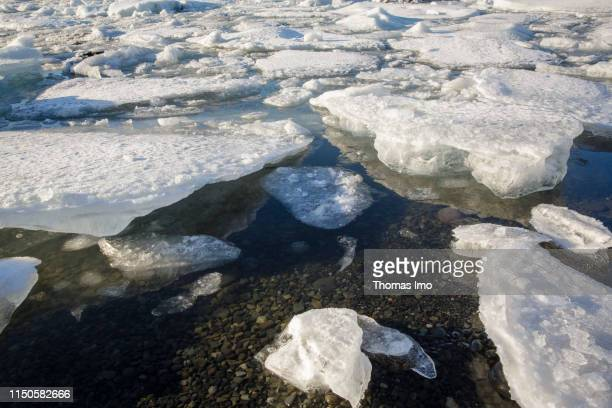 Ice floes in the waters of the Joekulsarlon Glacier pictured on March 30 2019 in Joekulsarlon Iceland