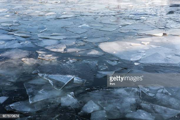 ice floes on havel river in potsdam (brandenburg, germany) - ijsschots stockfoto's en -beelden