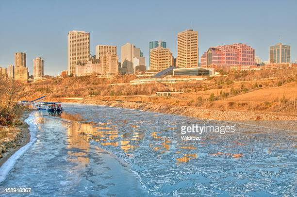 ice flows on the river in edmonton - edmonton stock pictures, royalty-free photos & images