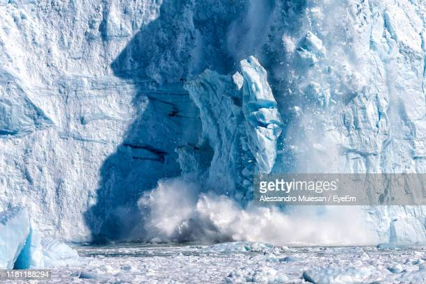 ice formation by frozen sea - glacier stock pictures, royalty-free photos & images