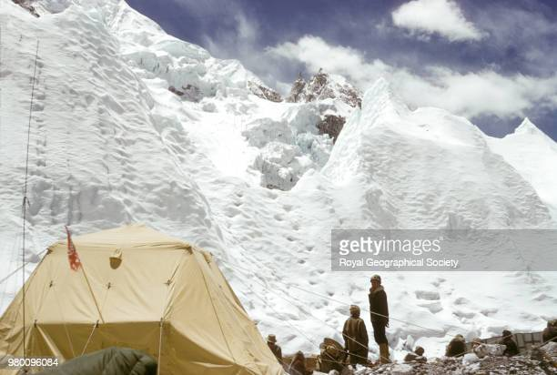 Ice formations rising above Base Camp Nepal March 1953 Mount Everest Expedition 1953