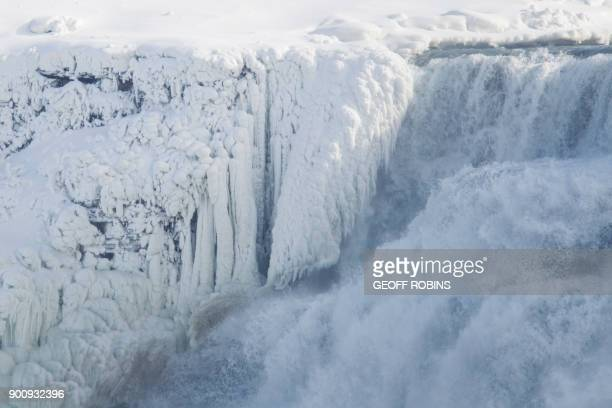Ice hangs from the top of the American side of Niagara Falls on January 3 2018 The cold snap which has gripped much of Canada and the United States...