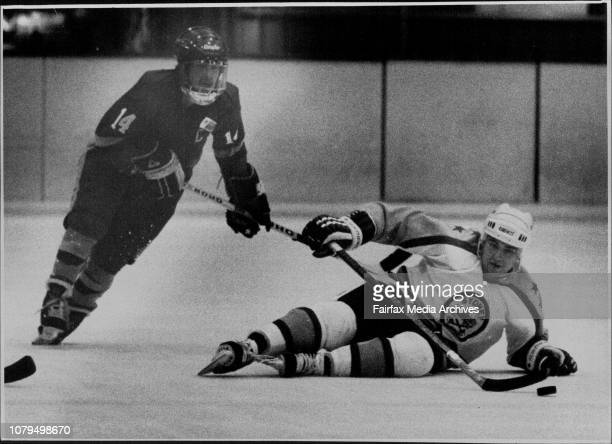 Sydney vs Adelaide at Macquarrie center Ice Rink SaturdayAugust 13Sydney Scrambling of the ice watched by John Botterill of Adelaide August 14 1988
