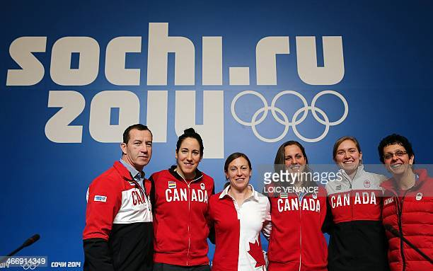 Ice Hockey Canadian Women team players Danielle Goyette Brianne Jenner Caroline Ouellette Jayna Hefford Lauriane Rougeau and their coach kevin Dineen...