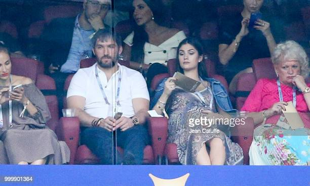 Ice hockey champion Alexander Ovechkin and his pregnant wife Anastasia Shubskaya during the 2018 FIFA World Cup Russia Final match between France and...
