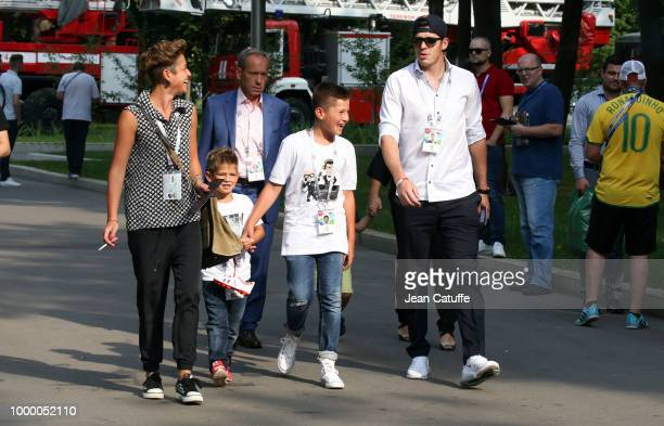 Ice hockey champion Evgeni Malkin of Russia attends the 2018 FIFA World Cup Russia Final match between France and Croatia at Luzhniki Stadium on July...