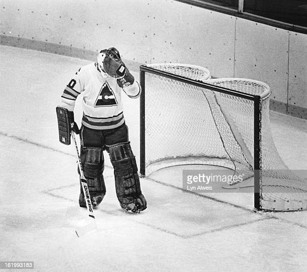 Ice Hockey - Colorado Rockies ; Rockies' goalie Phil Myre reflects frustration after giving up goal to Sabres' Andre Savard in first Period.; Buffalo...