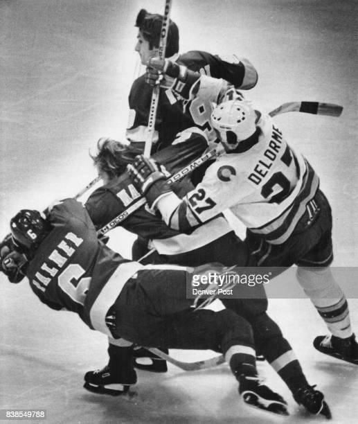 Ice Hockey Colorado Rockies What a Tangled web we Weave Colorado right wing Ron Delorme tries to break through three Los Angeles playersRob Palmer...