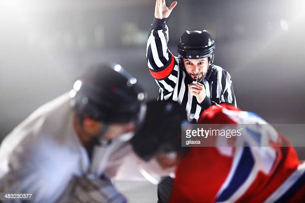 ice hockey fight. - referee stock photos and pictures