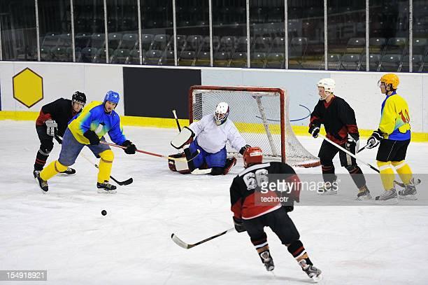 Ice hockey goal action