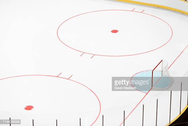 ice hockey goal and empty rink. - hockey rink stock photos and pictures