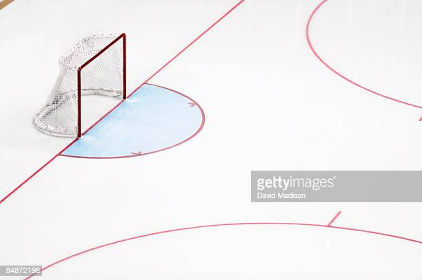 ice hockey goal net and empty rink. - ice rink stock photos and pictures