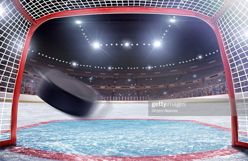 Baliza de hóquei no gelo : Foto de stock