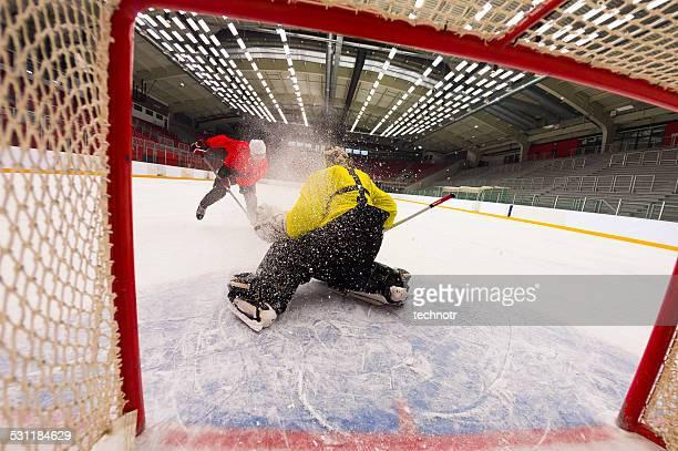 Ice Hockey Goalie Defending at Penalty Shot