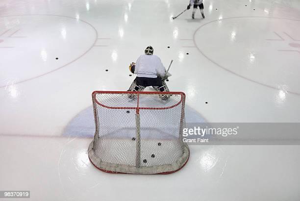 ice hockey goalie during practice