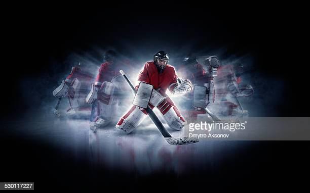ice hockey goalie in different positions - doelman ijshockeyer stockfoto's en -beelden
