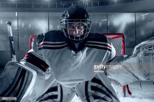 ice hockey keeper beschermt het doel - ijshockeytenue stockfoto's en -beelden
