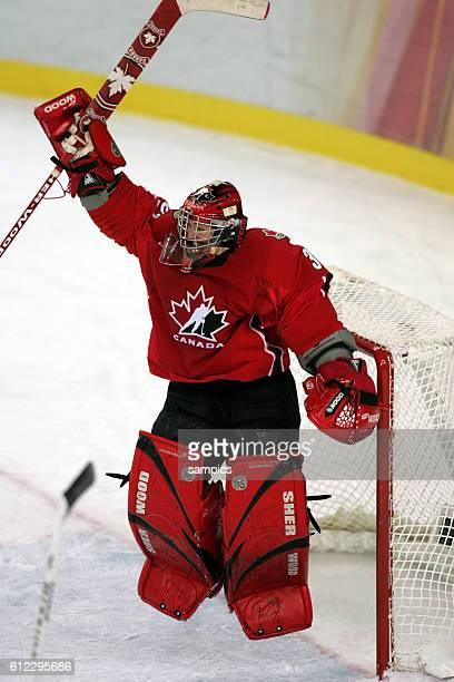 Eishockey Damen Finale Schweden Kanada 14 ice hockey ladies final goldgame Sweden Canada Jubel von Kanadas Keeperin Charline Labonte olympische...