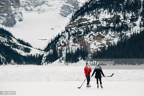 Ice Hockey over Lake Louise in Banff National Park Canada