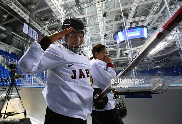 Ice hockey player Ami Nakamura of Japan gestures during practice ahead of the Sochi 2014 Winter Olympics at Shayba Arena on February 2 2014 in Sochi...