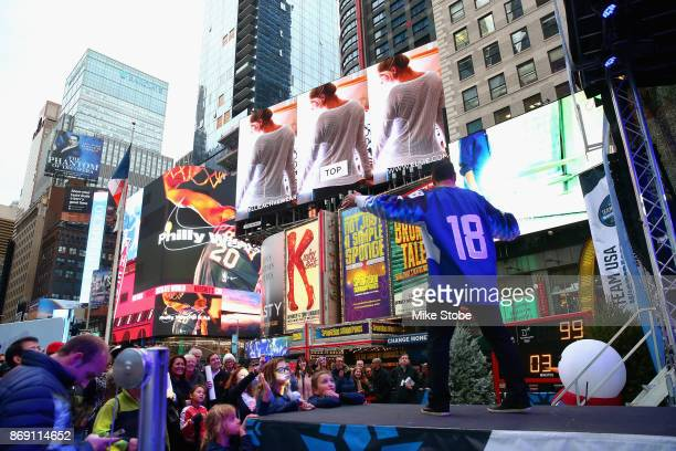 Ice hockey player Brian Gionta attends the 100 Days Out 2018 PyeongChang Winter Olympics Celebration Team USA in Times Square on November 1 2017 in...