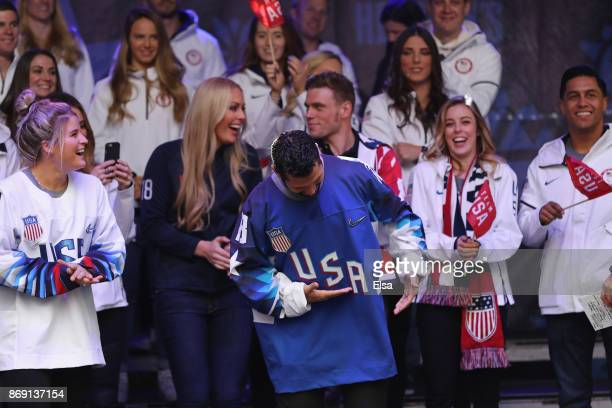 Ice hockey player Brian Gionta laughs on stage during the 100 Days Out 2018 PyeongChang Winter Olympics Celebration Team USA in Times Square on...