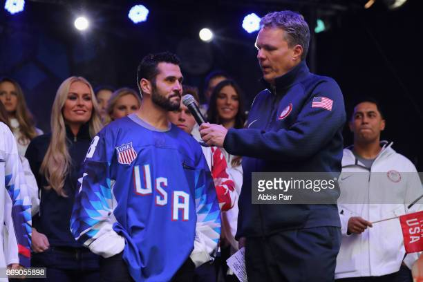 Ice Hockey player Brian Gionta speaks during the 100 Days Out 2018 PyeongChang Winter Olympics Celebration Team USA in Times Square on November 1...