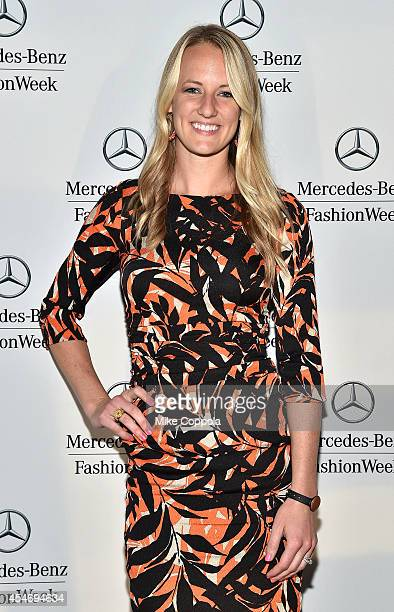 Ice hockey player Brianne McLaughlin attends the MercedesBenz Lounge during MercedesBenz Fashion Week Spring 2015 at Lincoln Center on September 5...