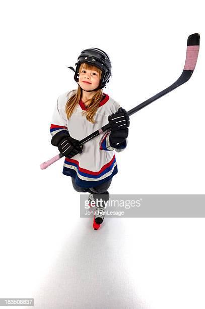 ice hockey player girl happy winner children