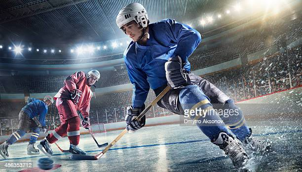 ice hockey player on hockey arena - ice hockey stock pictures, royalty-free photos & images