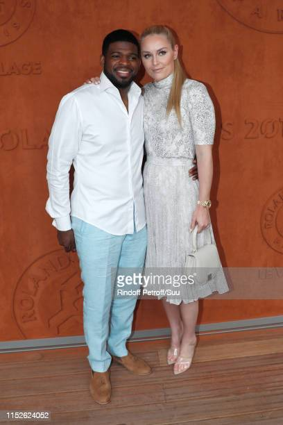 Ice hockey player Pernell Karl Subban and skier Lindsey Vonn attend the 2019 French Tennis Open - Day Five at Roland Garros on May 30, 2019 in Paris,...