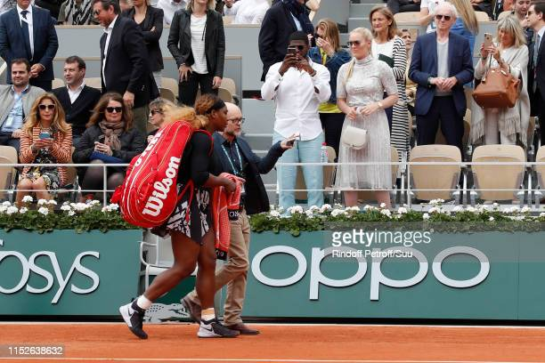 Ice hockey player Pernell Karl Subban and skier Lindsey Vonn watch Tennis player Serena Williams fter she won a match during the 2019 French Tennis...