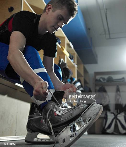 ice hockey player - lace fastener stock pictures, royalty-free photos & images