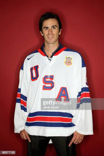 Ice hockey player Ryan Miller poses for a portrait during the 2010 US Olympic Team Media Summit at the Palmer House Hilton on September 10 2009 in...