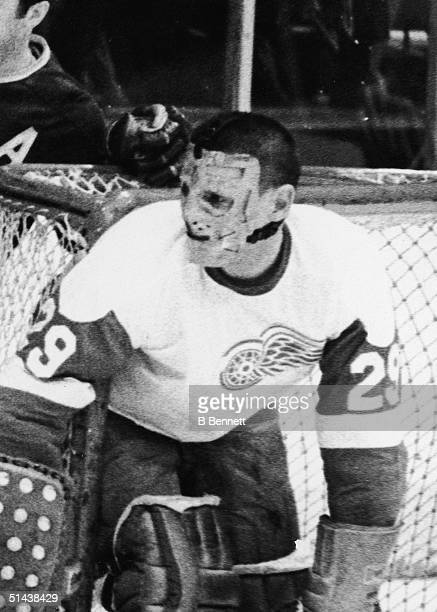 Ice hockey player Terry Sawchuk of the Detroit Red Wings minds the goal March 20 1969