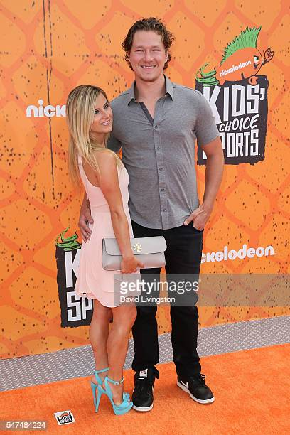 Ice hockey player Tyler Toffoli and guest arrive at the Nickelodeon Kids' Choice Sports Awards 2016 at the UCLA's Pauley Pavilion on July 14, 2016 in...