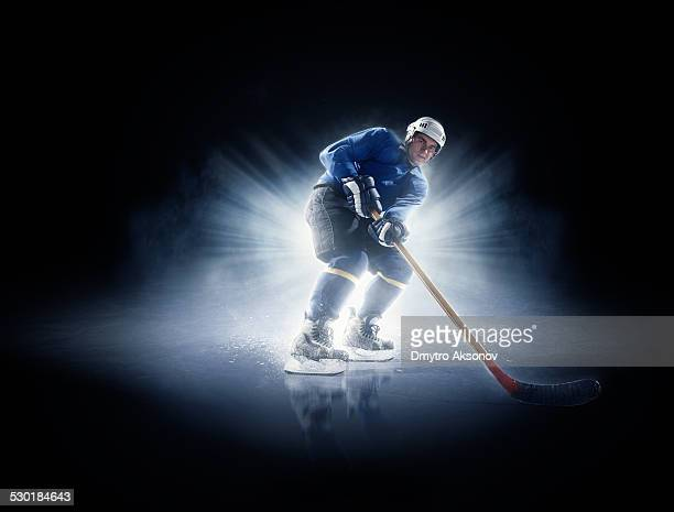 Ice hockey players in spotlight