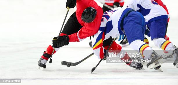 ice hockey players on ice rink - ice hockey stock pictures, royalty-free photos & images
