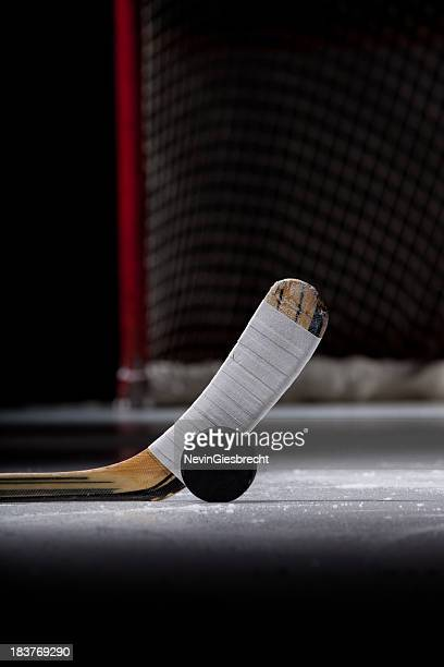 ice hockey puck and stick - hockey stick stock pictures, royalty-free photos & images