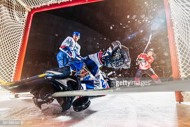 ice hockey scoring - face off sports play stock photos and pictures