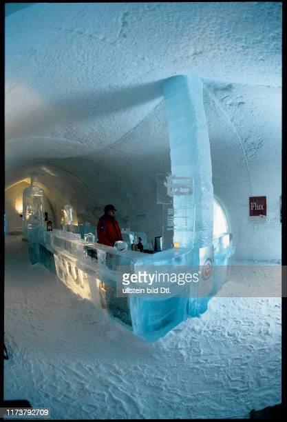 Ice Hotel in northern Sweden: bar made out of pure ice, 1996