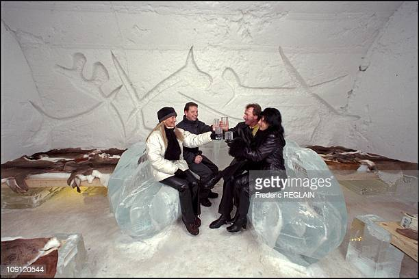 Ice Hotel In Quebec On January 1St 2001 In Quebec Canada Guests Drinking In The Dali'S Bedroom