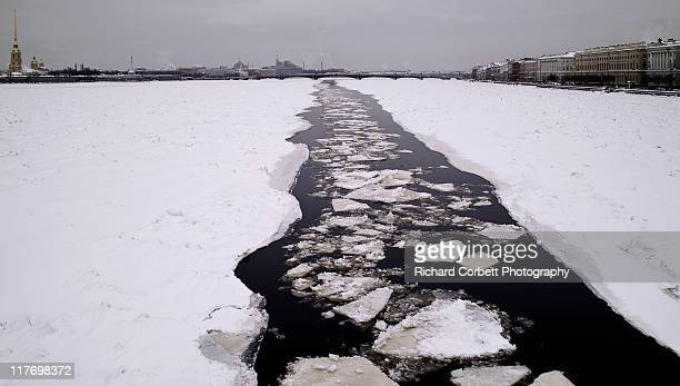 ice in river neva - neva river stock photos and pictures