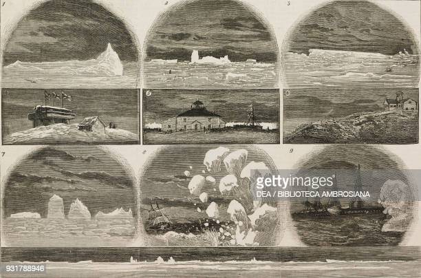 Ice in the Atlantic Ocean: 1 iceberg one mile and three-quarters long; 2 iceberg 450 feet high; 3 iceberg two miles long; 4 blockhouse, signal hill,...