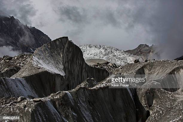 Ice is seen in the Large Ice Fall top of Glacier 1 at the base of the 7556 m Mount Gongga known in Tibetan as Minya Konka on November 12 2015 in...